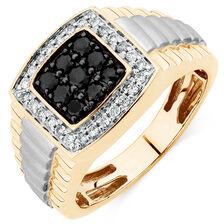 Men's Ring with 3/4 Carat TW of White & Enhanced Black Diamonds in 10ct Yellow & White Gold