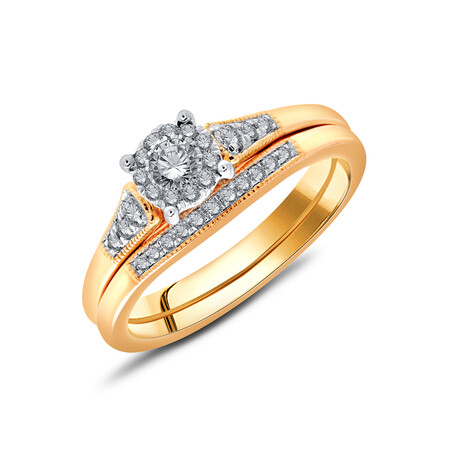 Bridal Set with 0.34 Carat TW of Diamonds in 10ct Rose & White Gold