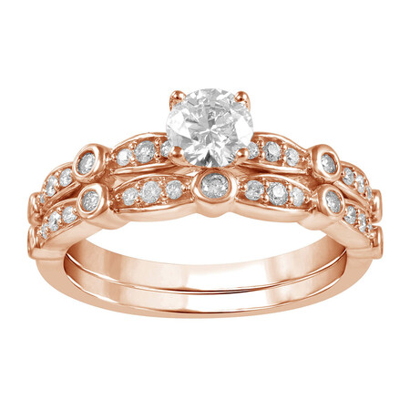 Bridal Set with 3/4 Carat TW of Diamonds in 14ct Rose Gold