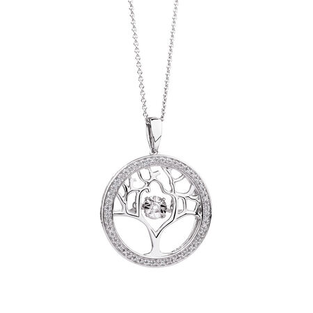Everlight Tree of Life Pendant with Diamonds in Sterling Silver