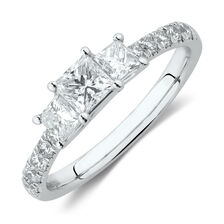 Evermore Three Stone Engagement Ring with 1 Carat TW of Diamonds in 14ct White Gold