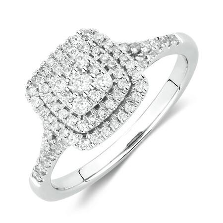 Engagement Ring with 1/2 Carat TW of Diamonds in 10ct White Gold