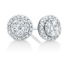 Cluster Stud Earrings with 0.50 Carat TW of Diamonds in 10ct White Gold