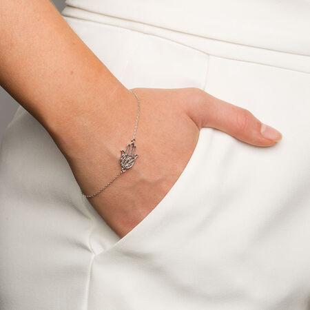 Hamsa Hand Bracelet in Sterling Silver