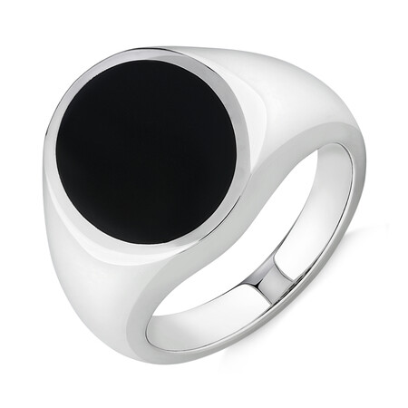 Ring with Onyx in Sterling Silver