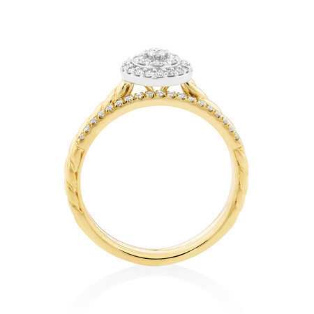 Bridal Set with 0.34 Carat TW of Diamonds in 10ct Yellow Gold
