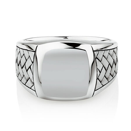 Men's Patterned Signet Ring In Sterling Silver