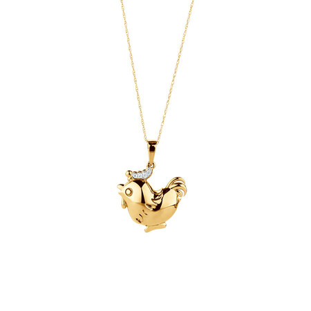 Rooster Pendant with Diamonds in 10ct Yellow Gold