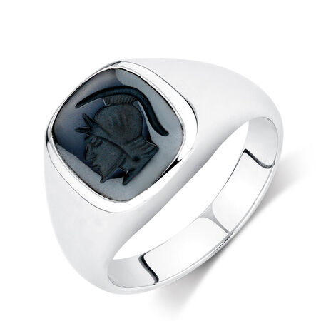 Men's Warrior Ring with Hematite in Sterling Silver