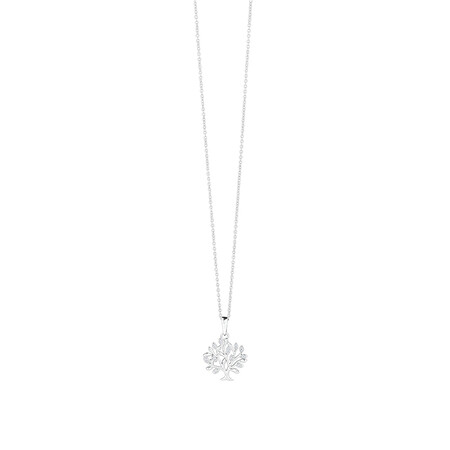 Tree of Life Pendant with Cubic Zirconia in Sterling Silver
