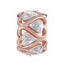 Diamond Set, 10ct Rose Gold & Sterling Silver Heart Charm