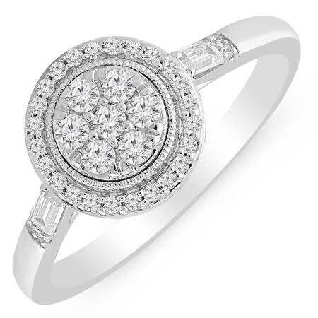 Cluster Ring with 0.35 Carat TW of Diamonds in 10ct White Gold