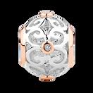 Diamond Set, Sterling Silver & 10ct Rose Gold Filigree Charm