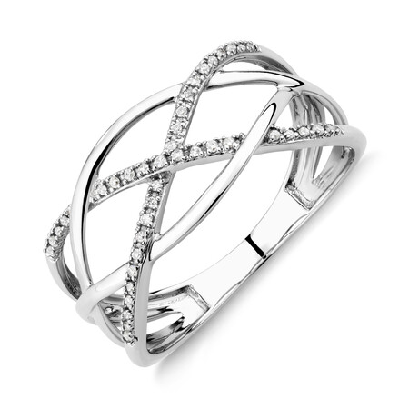 Crossover Ring with Diamonds in 10ct White Gold