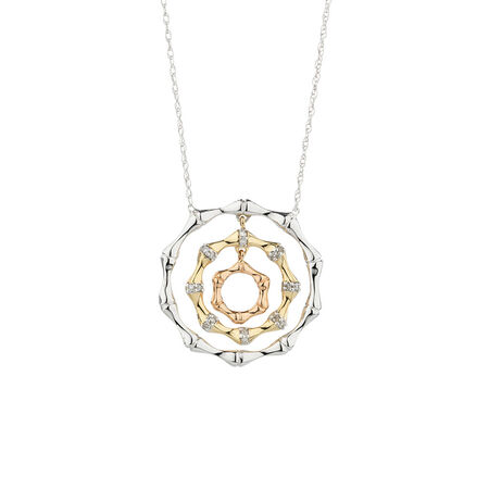Online Exclusive - Circle Pendant with Diamonds in 10ct Yellow, White & Rose Gold