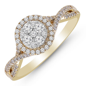 Cluster Ring with 1/2 Carat TW of Diamonds in 10ct Yellow Gold