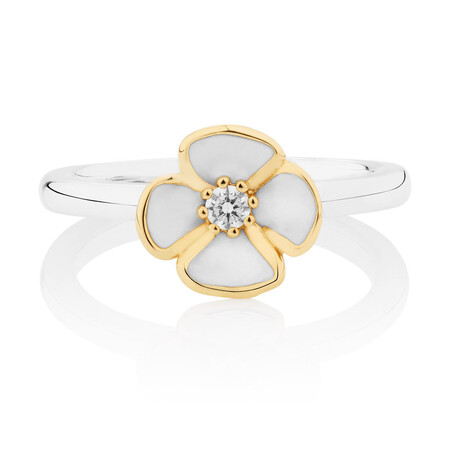 Enamel, 10ct Yellow Gold & Sterling Silver Stack Ring