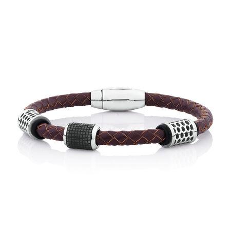 Men's Bracelet in Brown Leather & Black PVD & Stainless Steel