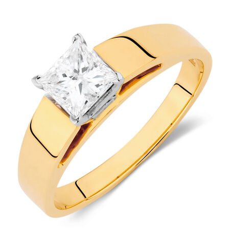 Solitaire Engagement Ring with a 0.69 Carat Diamond in 14ct Yellow & White Gold