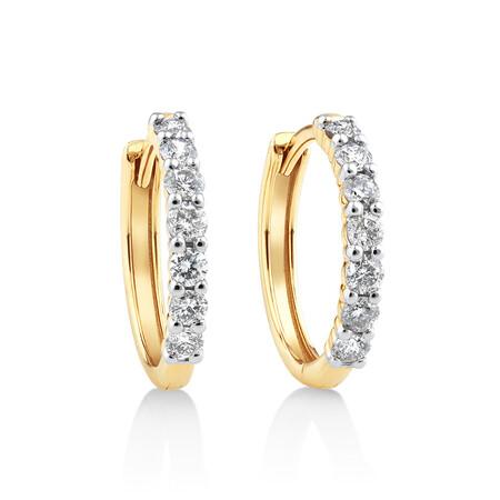 Huggie Earrings with 0.50ct TW Diamonds in 10ct Yellow Gold