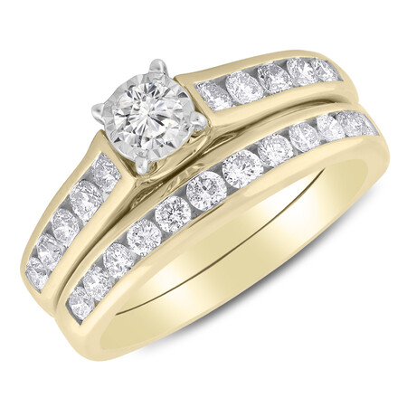 Bridal Set with 1.00 Carat TW of Diamonds in 14ct Yellow & White Gold