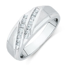 Men's Ring with 0.20 Carat TW of Diamonds in 10ct White Gold