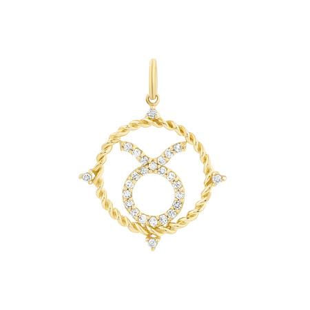 Taurus Zodiac Pendant with 0.20 Carat TW of Diamonds in 10ct Yellow Gold
