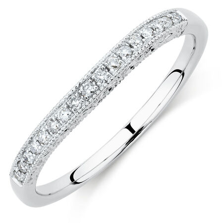 Wedding Band with Diamonds in 14ct White Gold