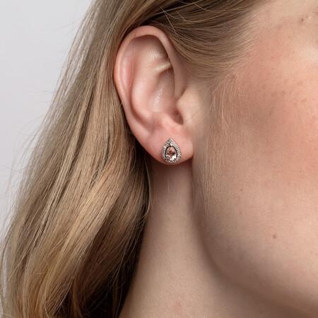 Earrings with Morganite & Diamonds in 10ct Rose Gold