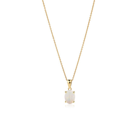Pendant with Natural White Opal in 10ct Yellow Gold