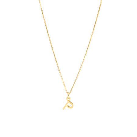 """""""P"""" Initial Pendant with Chain in 10ct Yellow Gold"""