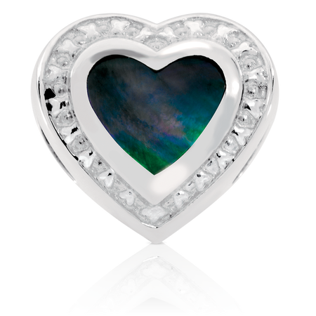 Black Mother Of Pearl Heart Charm