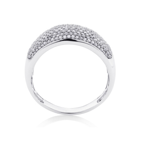 Pave Ring with 0.60 Carat TW of Diamonds in 10ct White Gold