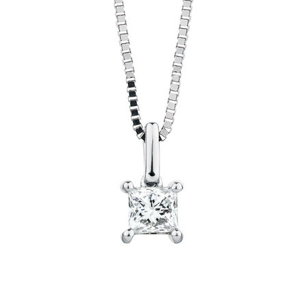 Solitaire Pendant with a 1/2 Carat Diamond in 18ct White Gold