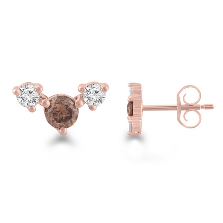 Earrings with 1/4 Carat TW of White & Brown Diamonds in 10ct Rose Gold