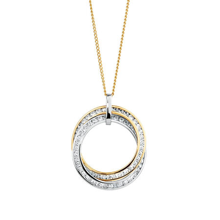 Pendant with Cubic Zirconia in 10ct Yellow & White Gold