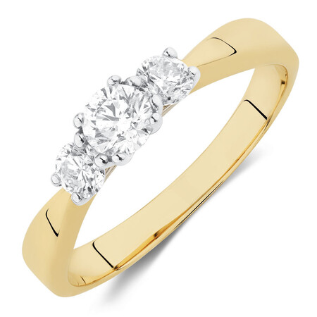Engagement Ring with 1/2 Carat TW of Diamonds in 10ct White & Yellow Gold