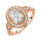 Engagement Ring with 1 Carat TW of Diamonds in 14ct Rose Gold