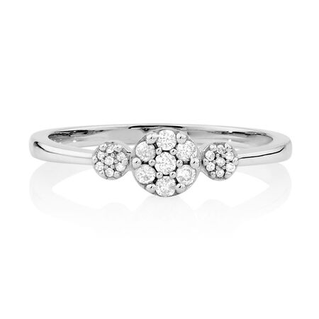 Ring with 0.15 Carat TW of Diamonds in 10ct White Gold