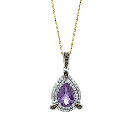 Pendant with Amethyst & Brown Diamonds in 14ct White Gold