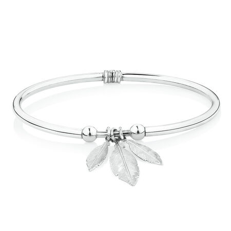 Feather Hinged Bangle in Sterling Silver
