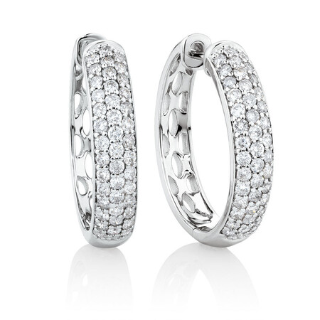 Huggie Earrings With 0.80 Carat TW Of Diamonds In 10ct White Gold