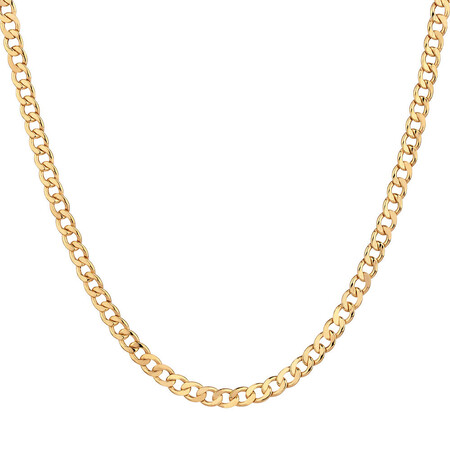 "70cm (28"") Hollow Curb Chain in 10ct Yellow Gold"