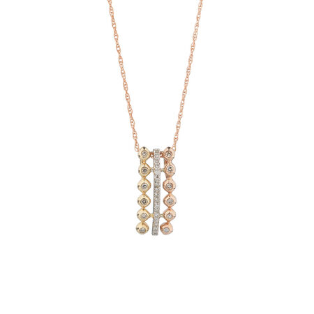 Tri Tone Pendant with Diamonds in 10ct Yellow, White & Rose Gold