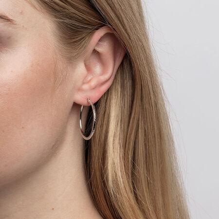 Patterned Hoop Earrings in 10ct White Gold