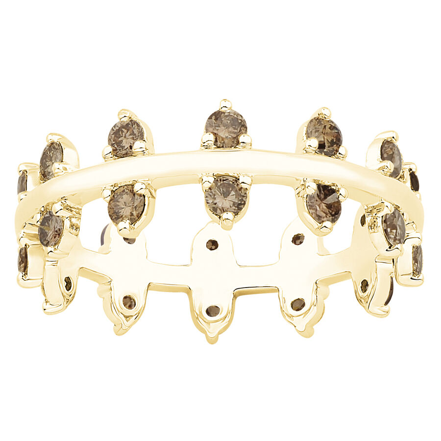 Zipper Ring with Champagne Diamonds in 10ct Yellow Gold