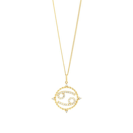 Cancer Zodiac Pendant with 0.20 Carat TW of Diamonds in 10ct Yellow Gold