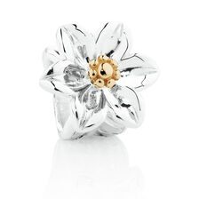 Wild Hearts Flower Charm in Sterling Silver & 10ct Yellow Gold