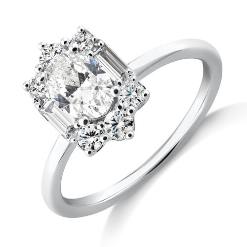 Sir Michael Hill Designer Oval Engagement Ring with 0.96 Carat TW Diamonds in 18ct White Gold