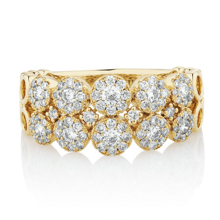 Ring with 3/4 Carat TW of Diamonds in 10ct Yellow Gold